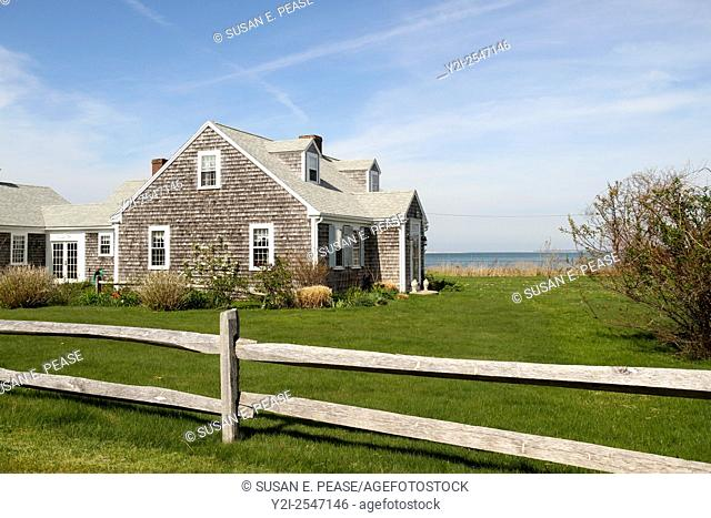 An old house overlooking the ocean. Barnstable, Massachusetts, United States, North America. Editorial use only