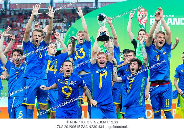 June 15, 2019 - Lodz, Poland - Ukrainian team celebrate during the 2019 FIFA U-20 World Cup Final between Ukraine and Korea Republic at Lodz Stadium on June 15