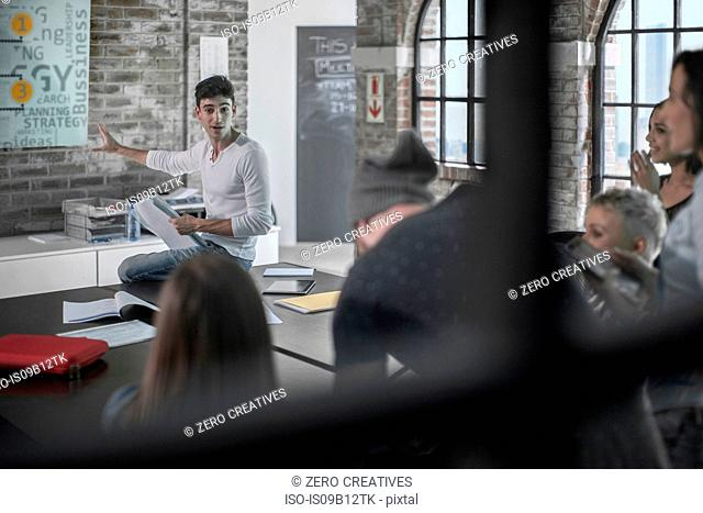 Colleagues in brainstorming meeting