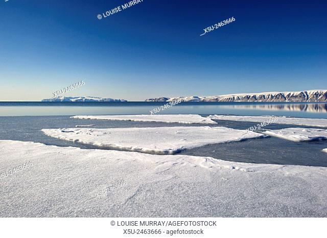 New sea ice forming in the spring in Hvalsund near Qaanaaq, Greenland