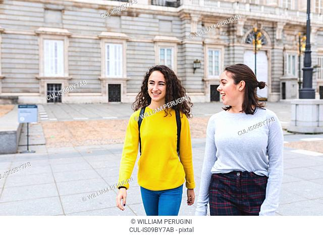 Girlfriends exploring city, Madrid, Spain