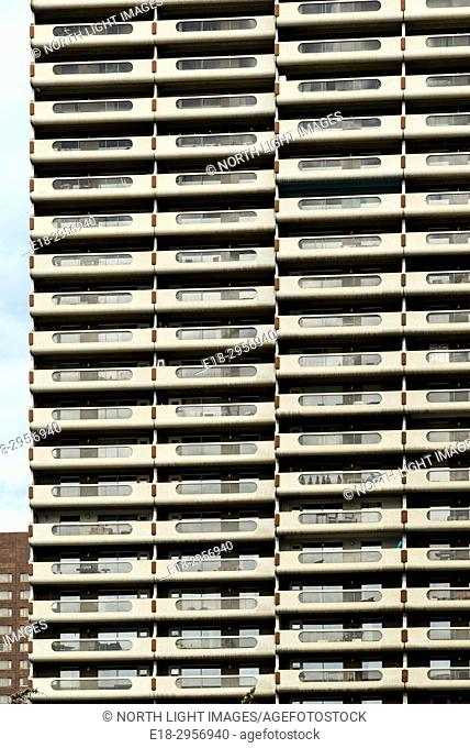Canada, Alberta, Calgary. Architectural detail of modern high-rise residential building in downtown city center