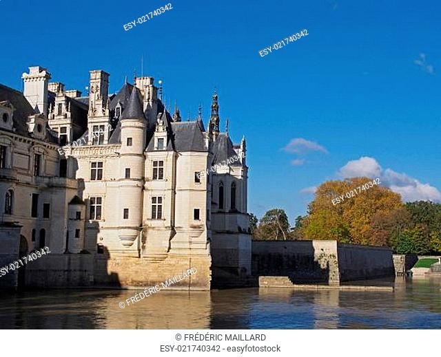 Chenonceau castle in fall , Loire valley , France