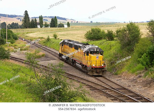 A Union Pacific train running light in eastern Washington State, USA