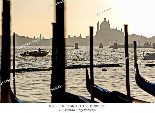 Europe, Italy, Veneto, Venice, classified as World Heritage by UNESCO. The lagoon at sunset