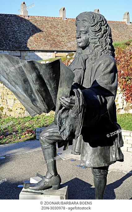 Monument to Vauban, general, builder, La Citadelle, Citadel, fortifications of Vauban, UNESCO World Heritage Site, Besancon, Departement Doubs, Franche-Comte