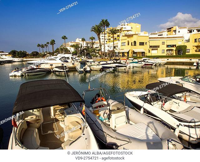 Boat at Marina Puerto Cabopino, Marbella. Costa del Sol, Malaga province. Andalusia Spain. Europe