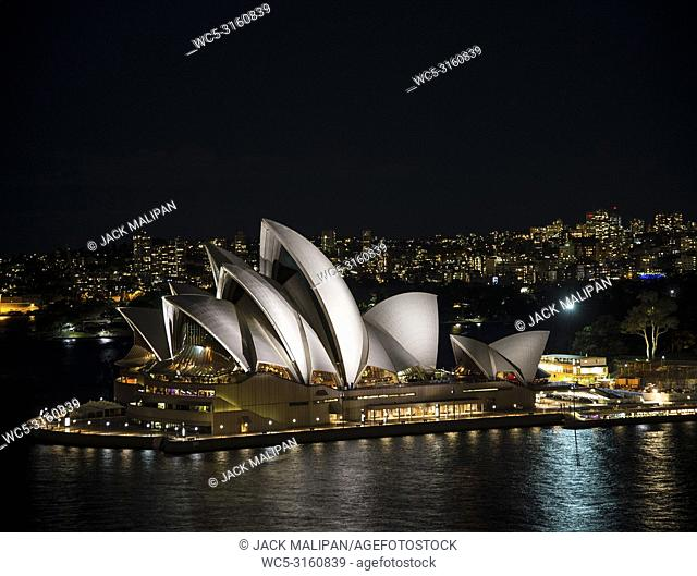 view of sydney opera house landmark exterior at night in australia