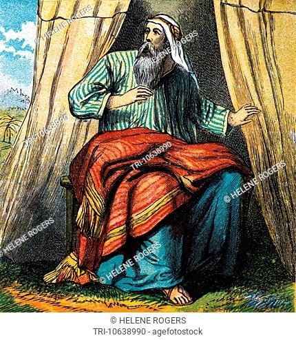 Bible Stories- Illustration Of Abraham Sitting At The Entrance Of His Tent In The Plains Of Mamre When He Is Visitied By Three Men In The Presence Of God...