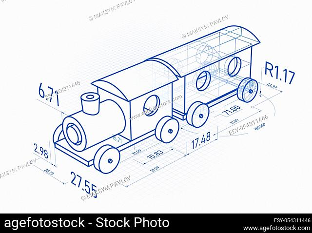 Toy train with drawing design elements. Blueprint design. Vector 3d illustration on white