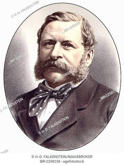 Historic chromolithography from the 19th century, portrait of William Henry Waddington, 1826 - 1894, a French numismatician, archaeologist and politician