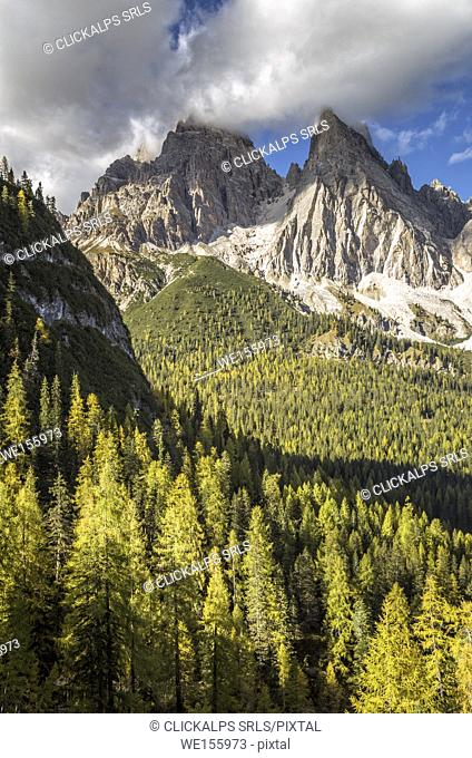 Mount Cristallo and Piz Popena in autumn,Cortina d'Ampezzo,Belluno district,Veneto,Italy,Europe