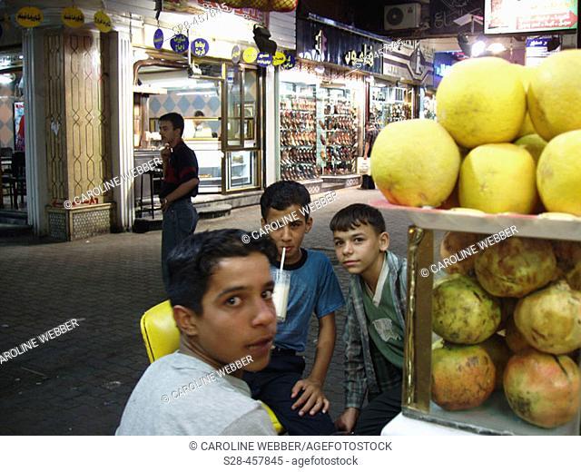 Boys at Aleppo juice bar, Syria