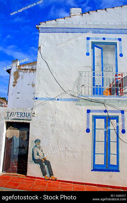 Graffiti on the facade, Calella de Palafrugell, Costa Brava, Catalonia, Spain