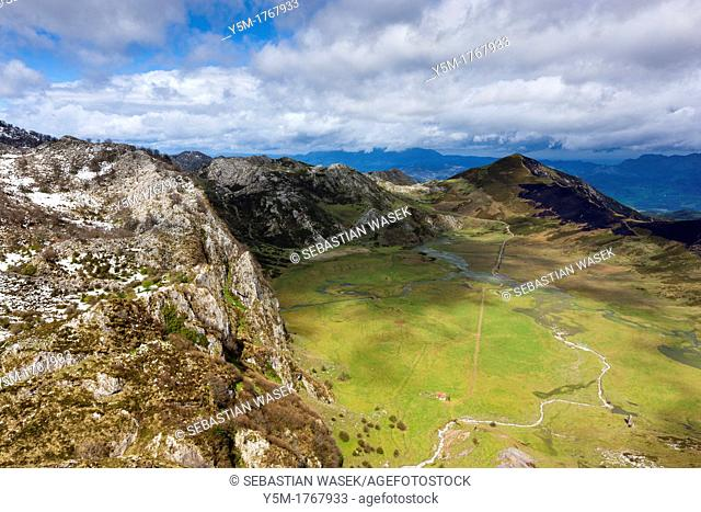 A view northwards near Mirador del Principe over Vega de Comeya, Picos de Europa National Park, Asturias
