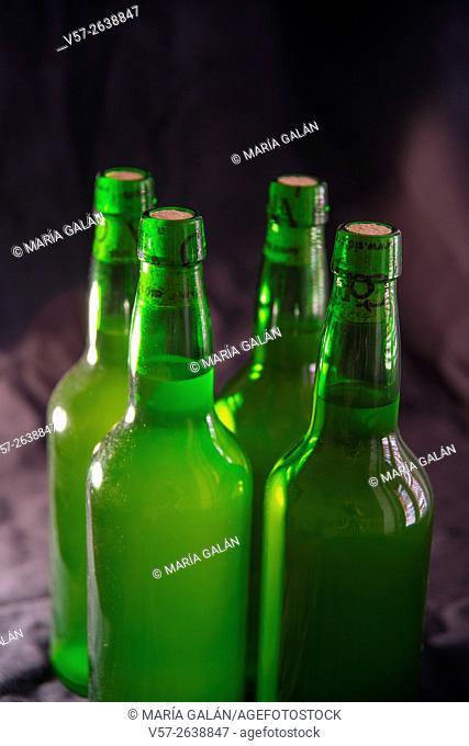 Four bottles of cider. Asturias, Spain