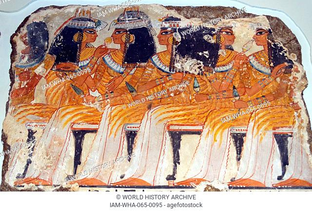 Guests from the top register of the banquet scene, 18th Dynasty, from the tomb of Nebamun, 1350-1370BC