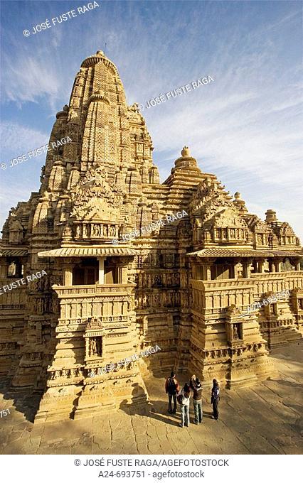 Hindu temple with erotic carvings, Khajuraho. Madhya Pradesh, India