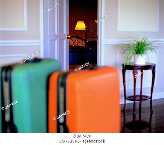 Luggage and open door