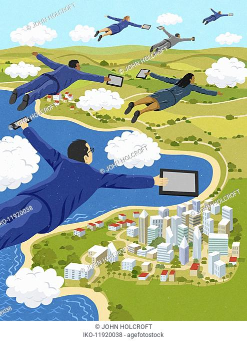Business people flying through clouds holding digital tablets and smart phones