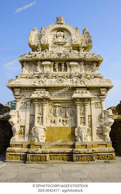 The kanchi Kailasanathar temple, Kanchipuram, Tamil Nadu, India. Oldest Hindu Shiva temple in the Dravidian architectural style