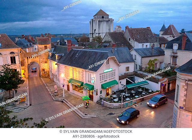 France, Poitou, Vienne, La Roche-Posay, overview on the medieval city stone gate at dusk