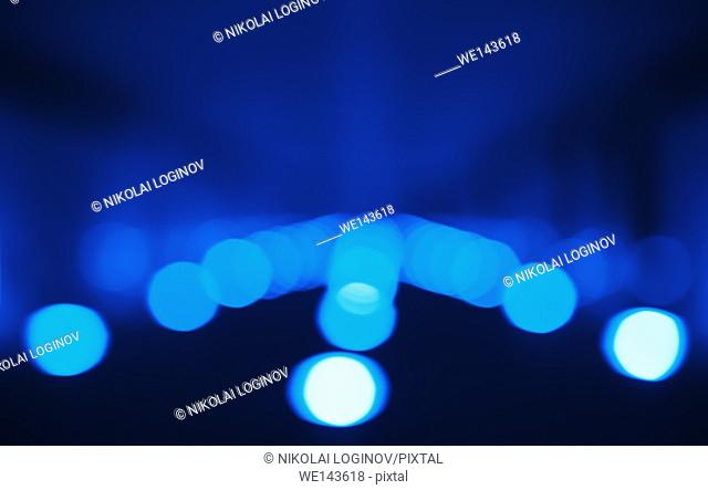 Horizontal blue bokeh path background