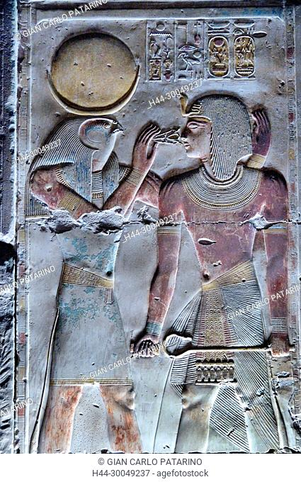 Abydos,Egypt, the mortuary temple of pharaoh Seti I, Menmaatra, (XIX° dyn. 1321-1186 B.C.) - The god Horus give life and the power to king