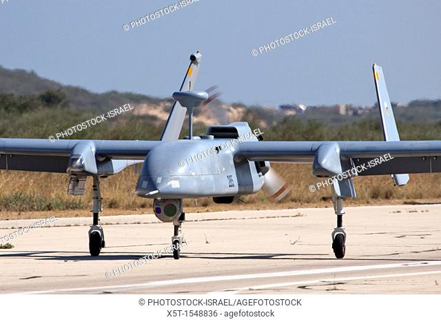 Israeli Air force IAF IAI Heron IAI Shoval an Unmanned Aerial Vehicle UAV at takeoff developed by the Malat division of Israel Aerospace Industries