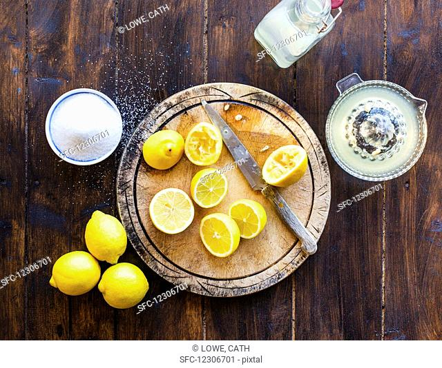 Squeezing Fresh Lemons with Sugar, Bottle homemade lemonade
