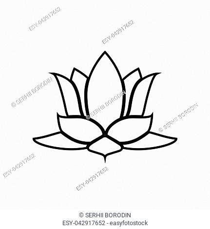 Lotus flower it is black color icon