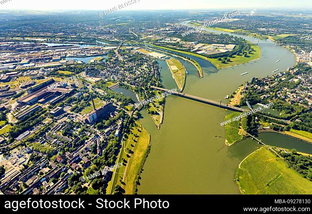 Aerial view of the Ruhr estuary into the Rhine near Ruhrort with the new logistics area of the Duisburg port, Duisport at the mouth of the Rhein-Herne canal in...