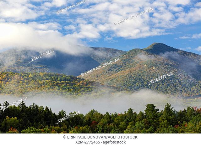 View of mountains on a foggy autumn morning from the information center at the junction of Route 302 and Route 3 in Twin Mountain, New Hampshire