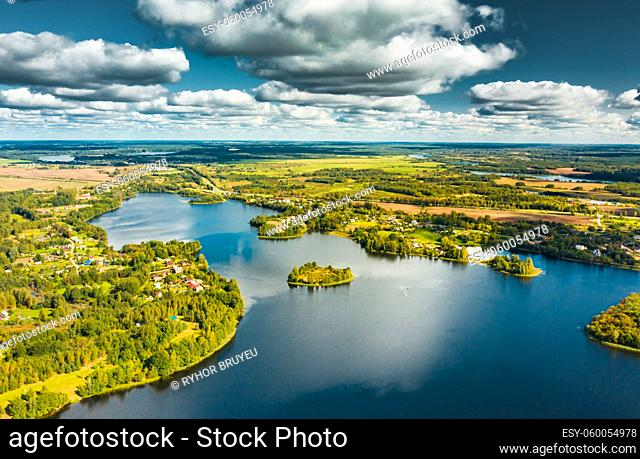 Lyepyel District, Vitebsk Region, Belarus. Aerial View Of Lepel Lake With Natural Small Islands