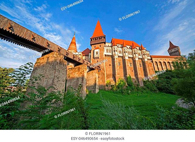 Day view on Corvin castle, one of famous Romanian landmarks located in Transylvania, also related to Dracula names and vampires