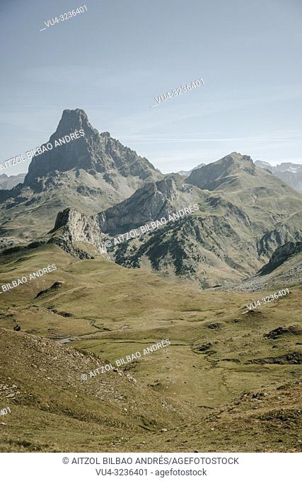 Ossau valley from the border between spain and france, the big mountain is th Pic du midi d`ossau, a well known mountain for climbers on the pyrenees