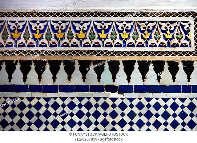 Zellige Tile decorative panels. The Petite Court, Bahia Palace, Marrakesh, Morroco