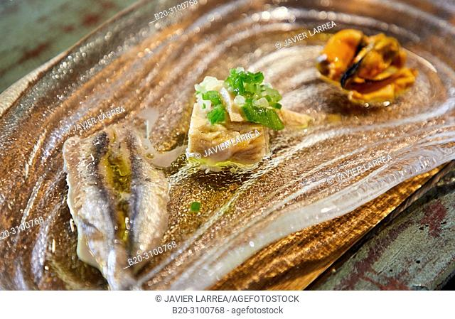 Fish tasting at Restaurante Rita, Gastronomic tour, Donostia, San Sebastian, Gipuzkoa, Basque Country, Spain, Europe