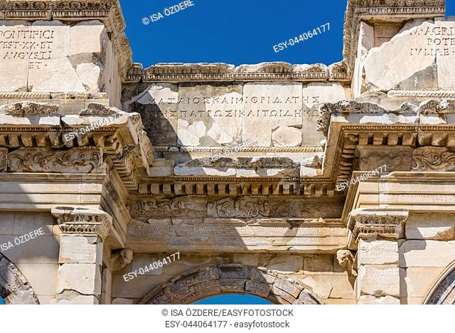 Close Detailed view of Ancient Celsus Library at Ephesus historical ancient city, in Selcuk,Izmir,Turkey