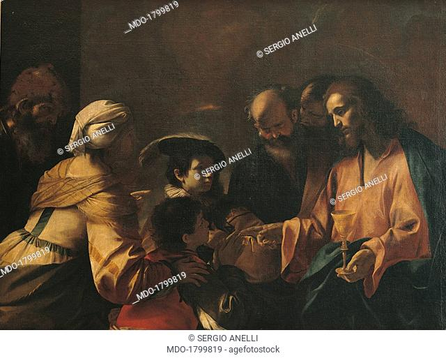A mother commits her sons to Christ or Sinite Parvulos, by Mattia Preti, 1640, 17th Century, oil on canvas. Italy, Lombardy, Milan, Brera Collection