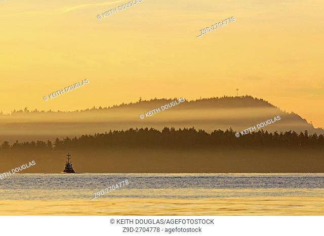 Tugboat leaving harbour in morning, Nanaimo, Vancouver Island, British Columbia