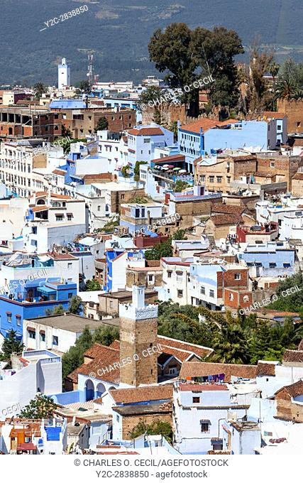 Chefchaouen, Morocco. City View from the Trail to the Spanish Mosque