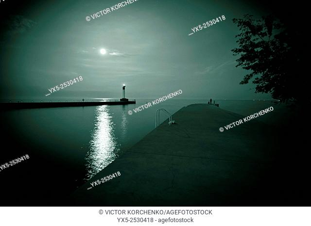Moon-lit lighthouse on Lake Ontario