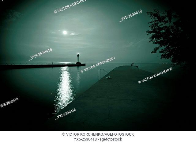 Moon-lit lighthouse on Lake Ontario