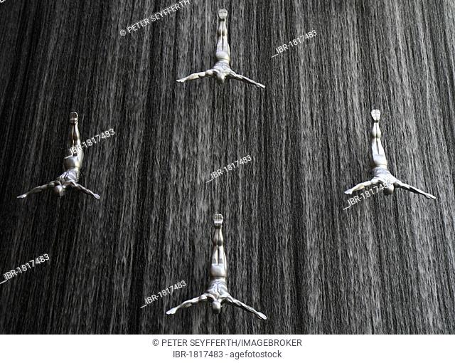 Waterfall with sculptures of divers in Dubai Mall, Dubai, United Arab Emirates, Middle East