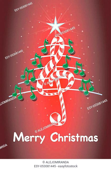 Christmas tree made of green musical notes, candy bar shaped treble clef and pentagram with title: MERRY CHRISTMAS on red background with stars - Vector image