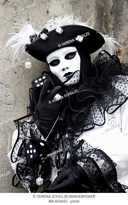 Black-and-white costume and mask, Carnevale di Venezia, Carneval in Venice, Italy