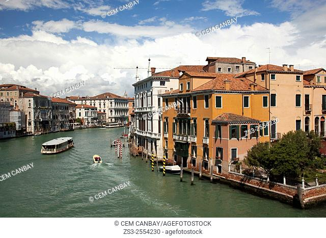 View to a ferryboat at Grand Canal from Academy bridge, Venice, Veneto, Italy, Europe