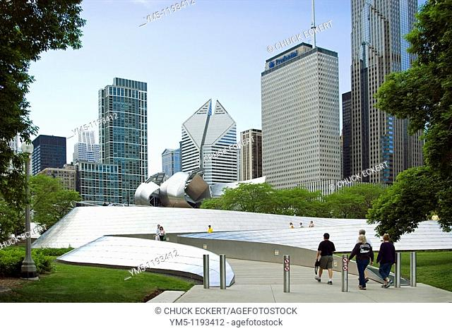 Chicago architecture & skyline from Millennium Park's BP Bridge which crosses Columbus Drive. Connecting Millennium Park to Daley Bicentennial Plaza