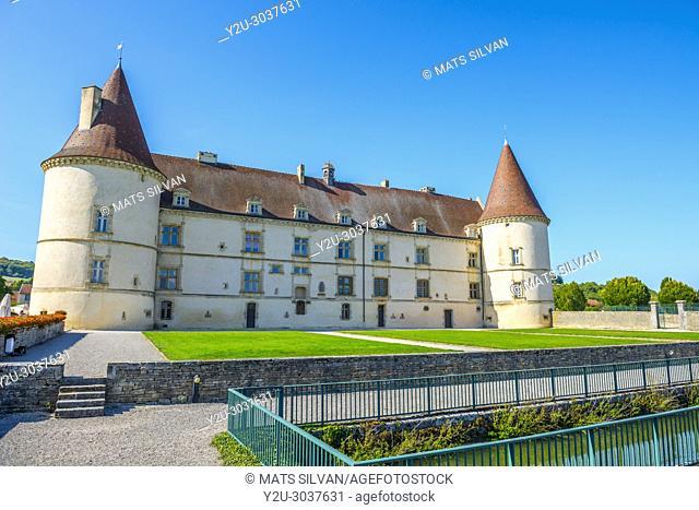 Castle - Château de Chailly-Sur-Armançonin - in a Sunny Day in Burgundy, France